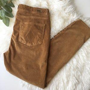 PAIGE Caramel Hoxton Skinny Zipper Corduroy Pants